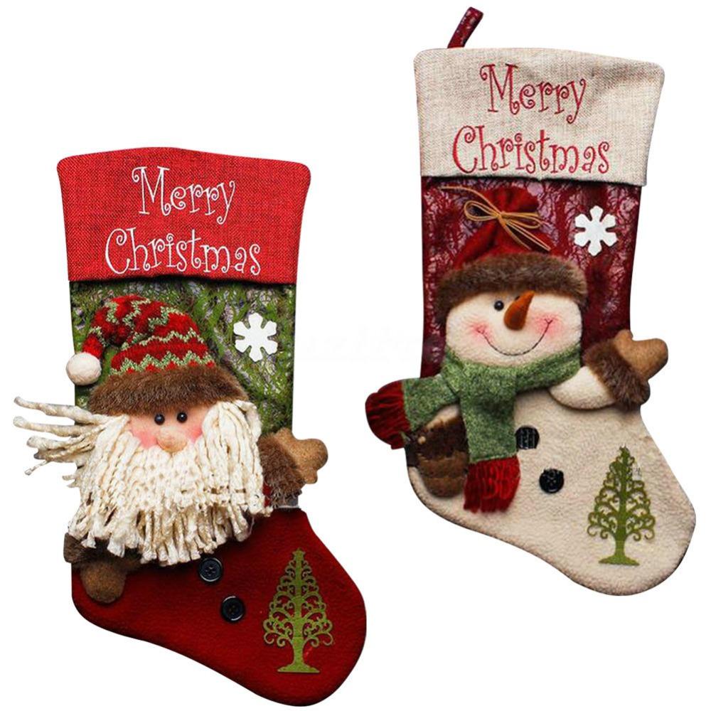 1Pcs/lot Christmas Stockings Hand Making Crafts Children Candy Gift Bag Santa Bag Elk The Old Man Snowman 2Colors -35(China (Mainland))