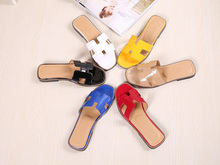 New 2015 H Brand Genuine Soft Patent Leather Women Flats Sandals Loafers Slippers Shoes For Woman Flat Plus Size Shoes 35~42(China (Mainland))