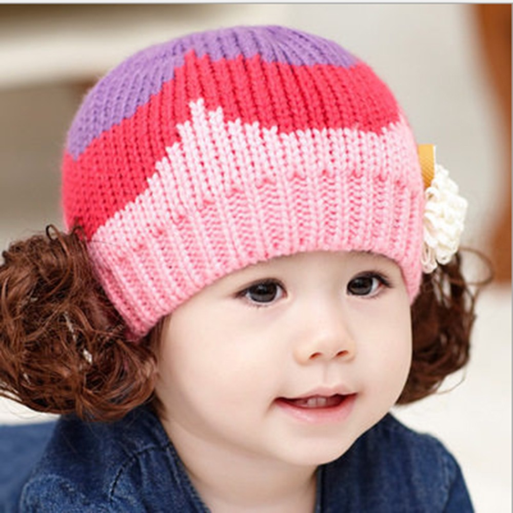 Free Ship New 2015 Lovely Winter Warm Cute Wigs Hat Winter Cap For Child Kids Infants Babies Candy Caps Kids Winter Cap(China (Mainland))