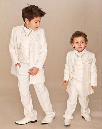 Фотография Custom Suit Boys Ivory 4 piece Suit Boy Wedding Suits Boy Tuxedo (Jacket+Pants+Vest+tie) Boys Dress suit Free Shipping ZY3465