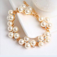 2015 New Vintage Pearl Bead Charm Bracelets &Bangles 18K Gold Plated Brand Wedding Jewelry For Women perola perla pulseras mujer(China (Mainland))