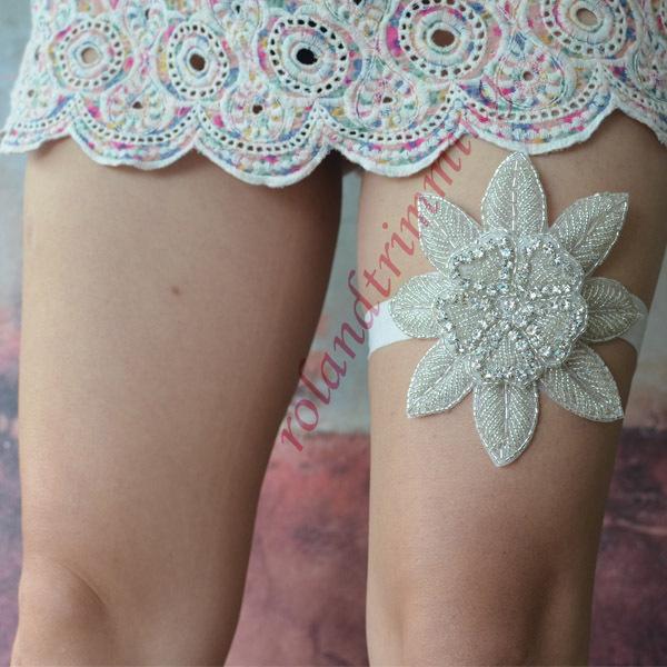 free shipping 2015 new accessories bridal wedding rhinestone crystal floral garter ra41(China (Mainland))
