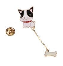 X024  New Cute Teddy Bulldog Dog with Bone Brooch Pins,Fashion Jewelry Wholesale HY(China (Mainland))