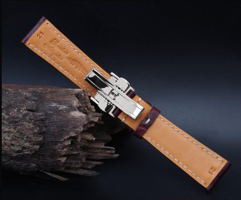 18 мм 19 мм 20 мм 21 м 22 мм новых людей белый шить реального крокодил из натуральной кожи ремень браслеты Dpolyment пряжки