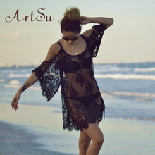 Buy ArtSu Summer Dress 2017 Sexy Loose Lace Loose Floral Sheer Strap Dresses Boho Dress Shoulder Beach Dress ASDR10001 for $5.80 in AliExpress store