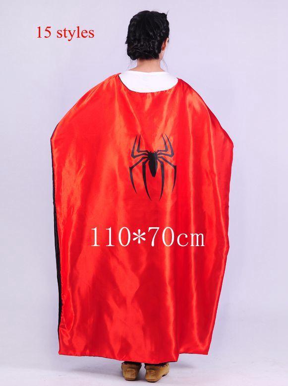 110*70cm Costume Adult Superman Superhero Cape Batman Spiderman Supergirl Adult capes 15 styles High Quality(China (Mainland))