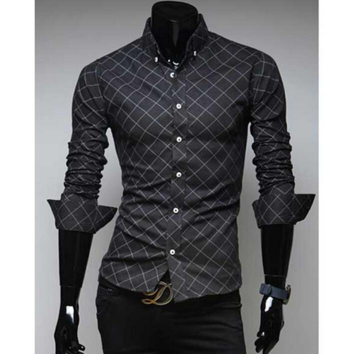 Hot sales 2015 fall classic dark grain diamond lattice design men's cultivate one's morality leisure long-sleeved plaid shirt(China (Mainland))