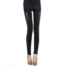 Sexy Women Pants Stitching Stretchy Faux Leather Black Skinny Leggings(China (Mainland))