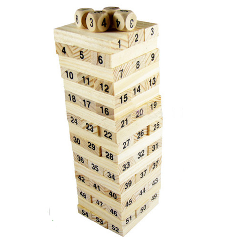 Baby Toys Family Game Wooden 54Pcs Blocks+4Pcs Dice Tumbling Stacking Tower Digital Building Blocks Popular Game Education Gift(China (Mainland))