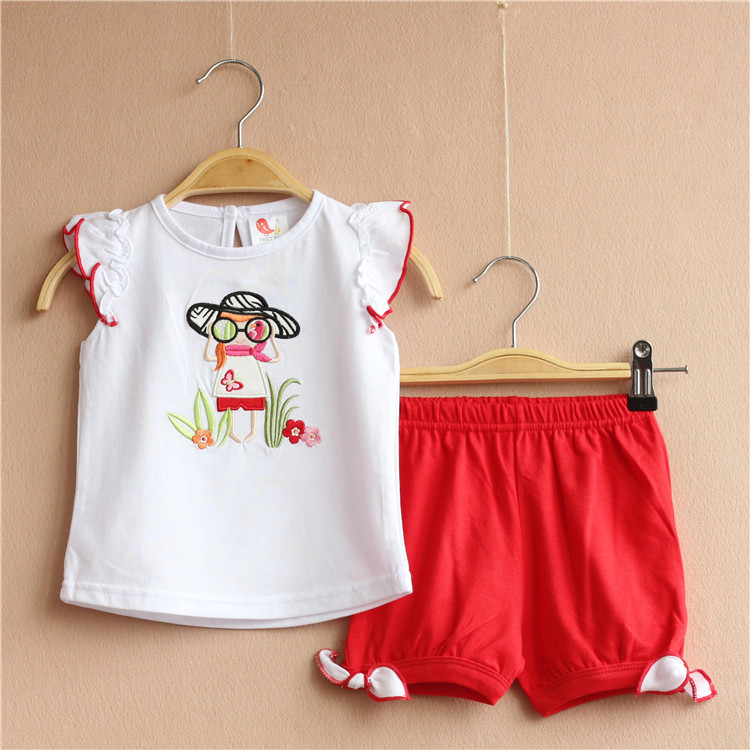 Free Shipping 6 Sets/lot 9M-24M BabyGirls Brand Quality Summer Outfit Glasses Girl Embroidered White Shirt Top and Pants Set<br><br>Aliexpress