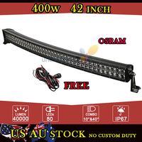 Osram 400W Curved 42 Inch LED Work Light Bar Combo Beam Offroad for Jeep GMC Ford Pickup Car 4x4 UTV 4WD SUV ATV UTV AWD Camper
