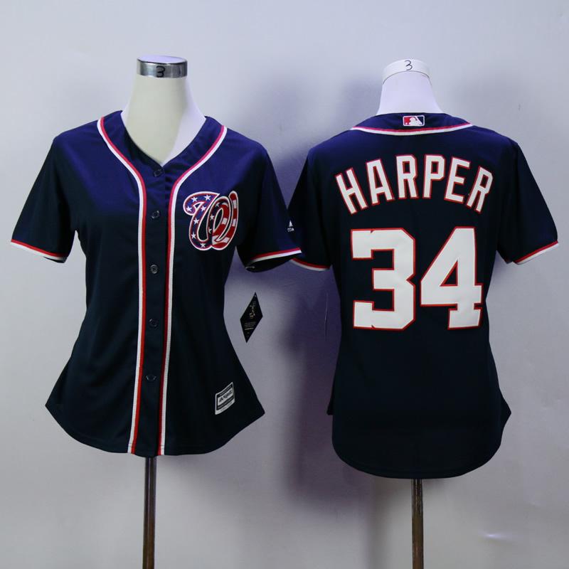 2016 New Washington Nationals #34 Bryce Harper Standard US Size Stitched Women Baseball Jersey/Shirt