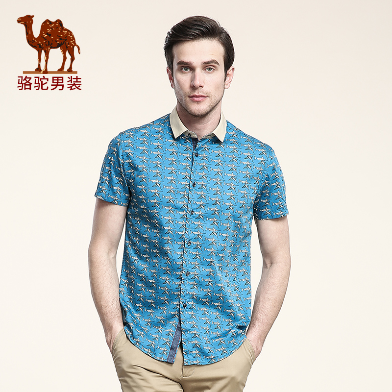 CAMEL New 2016 male short-sleeve shirt new designer popular fashion print thin summer shirts blue men  Одежда и ак�е��уары<br><br><br>Aliexpress
