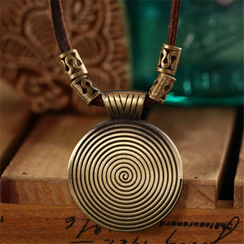 Rock Pendant Genuine Leather Chain Necklace