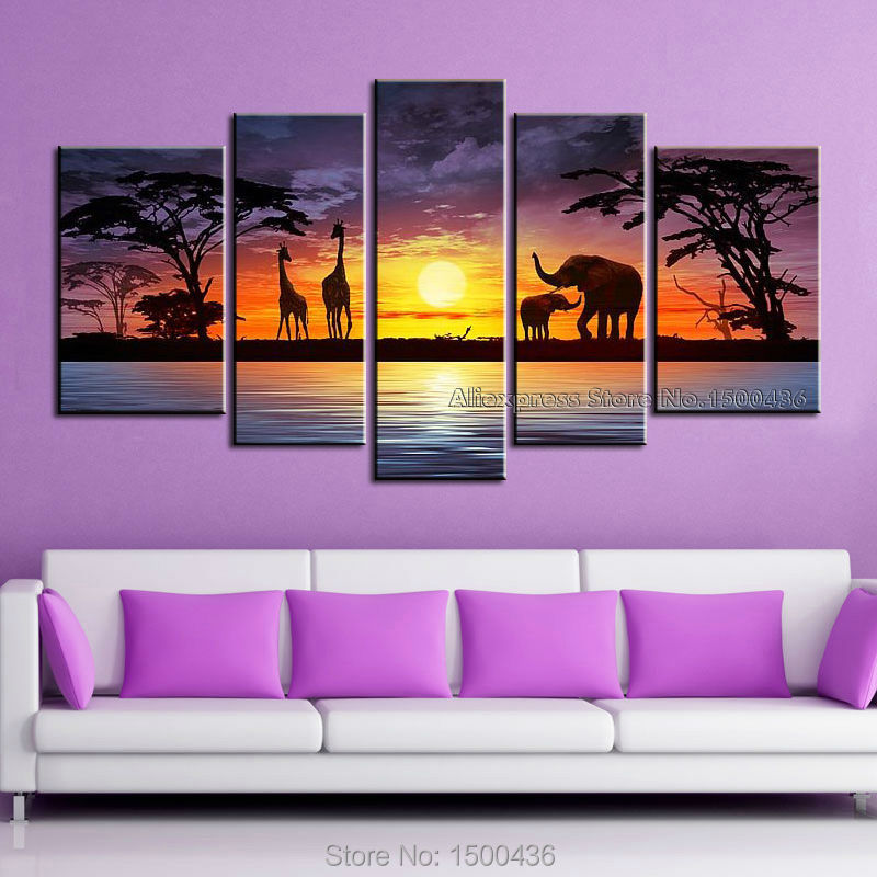 Hand Painted Abstract African Art Landscape Painting On Canvas Modern 5pcs Giraffe Elephant Decorative Oil Wall Picture Set(China (Mainland))