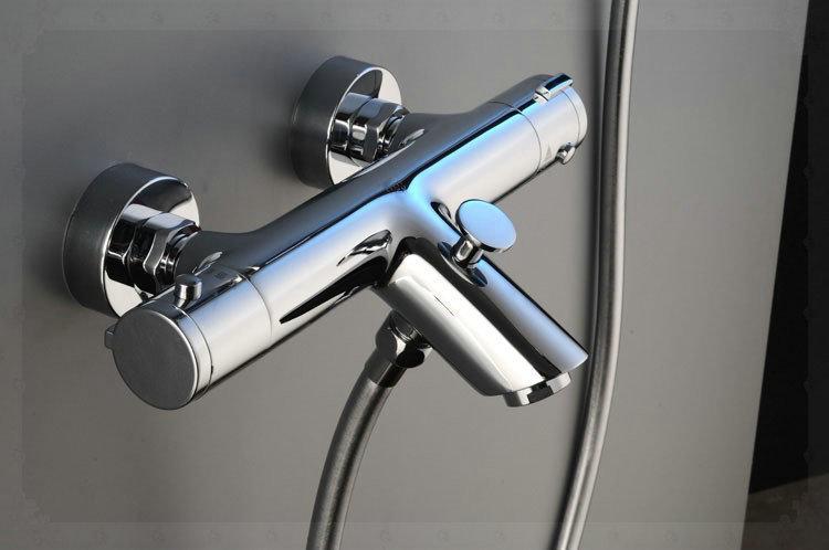 Free shipping Solar energy mix water valve Chrome Thermostat Shower Faucet Mixer diverter function TV004 cubas para banheiro gol(China (Mainland))