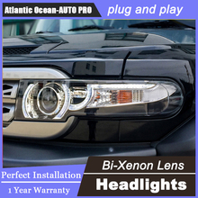 car styling Toyota Fj CRUISER headlights U angel eyes DRL 2008-14 LED light bar Q5 bi xenon lens h7 - Atlantic Ocean AUTO PRO CO.,LTD. store