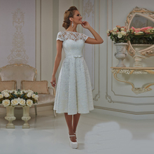 Short Wedding Dress With Cap Sleeves A Line Tea Length