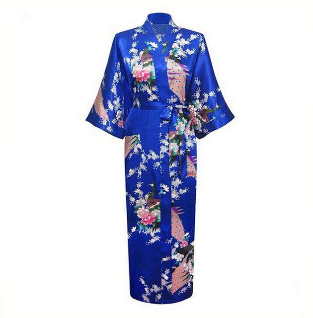 Продвижение Синий Летние Женщины Шелковый Атлас платье Кимоно Халат Сексуальное Женское ...