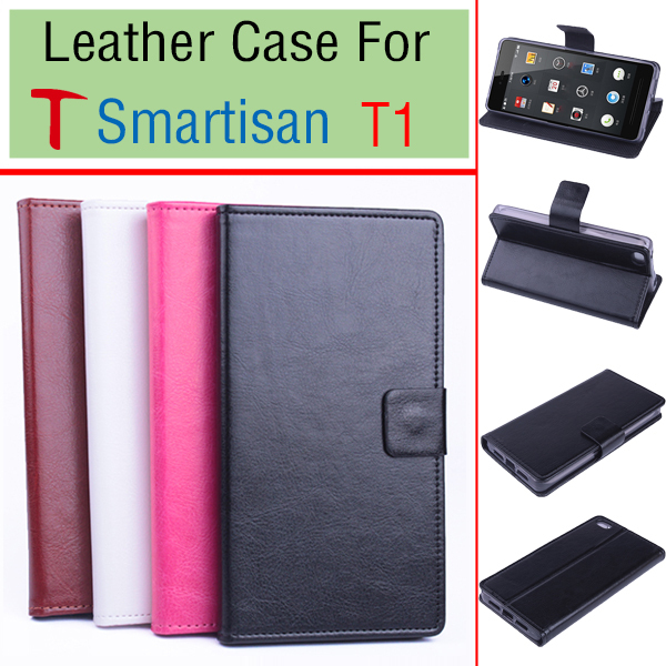 Free Shipping 2015 HOT Genuine Leather Flip Case Cover For T Smartisan T1 Quad Core 2.5GHz Left&Right Mobile Phone Cases 4-Color(China (Mainland))