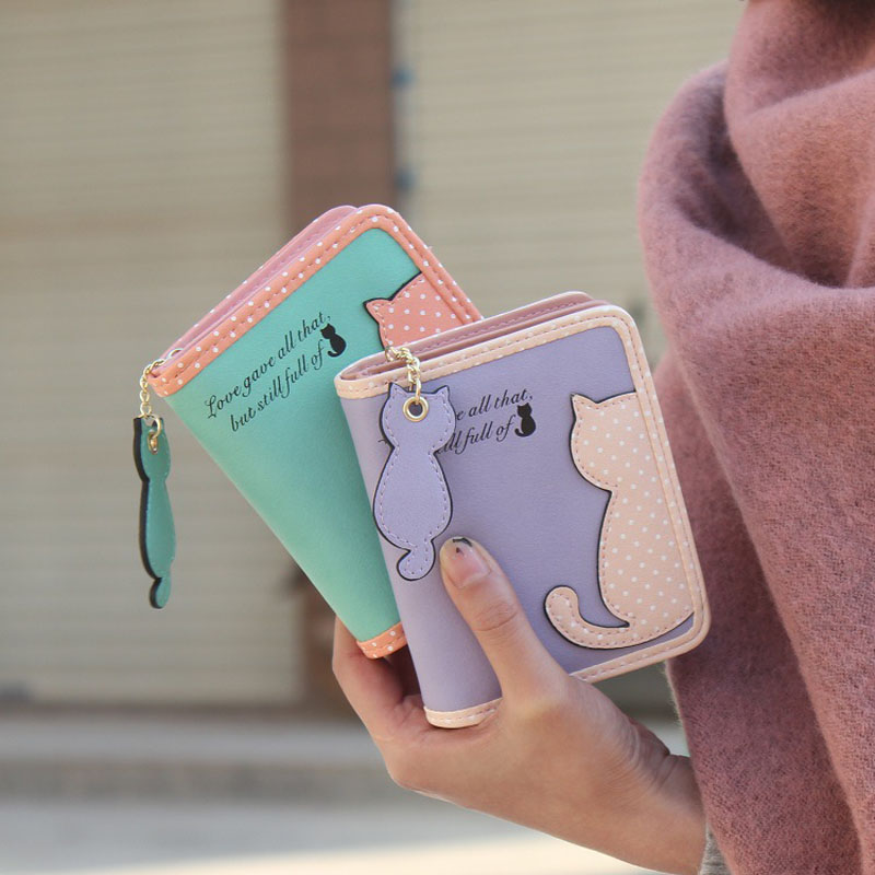HTB190WXMpXXXXa4XFXXq6xXFXXXW - Fashion Small Wallet Women Short Luxury Brand Cute Female Purse PU Leather Cat Design Girls Lady Zipper Wallets Card Holder Bags