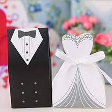 New 100Pcs Bridal Gift Cases Groom Tuxedo Dress Gown Ribbon Wedding Favor Candy Boxes high quality(China (Mainland))