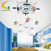 Mediterranean rudder Led pendant lights children room Led fixtures creative cartoon lamp boy bedroom pendant lighting(China (Mainland))