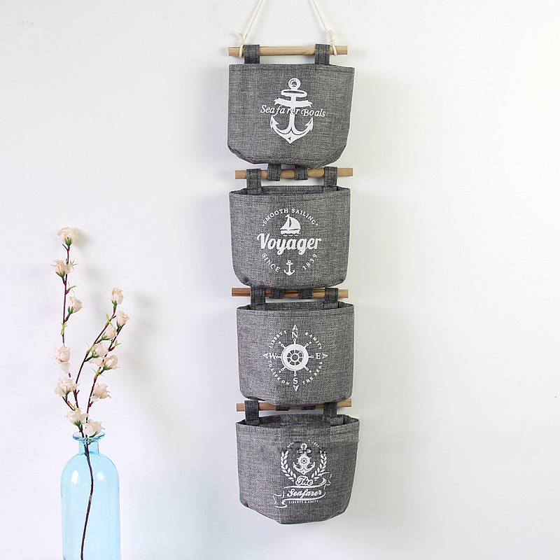 (4pcs/lot) New Arrivals Navy style Trendy Cotton Linen Grey Sundries Organizer Hanger Bag Wall Hanging Storage Bag 15*21*8cm(China (Mainland))