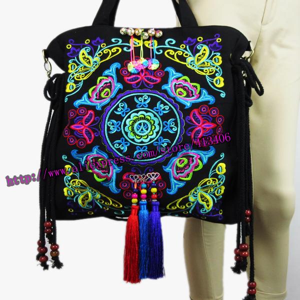 2 Usage Vintage Hmong Ethnic Thai Indian tribal Boho shoulder bag messenger tote bag handmade embroidery