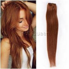 8A Grade Brazilian Remy Human Hair Straight Clip In Human Hair Extensions 7Pcs/140g For Full Head Set #30 Copper Red Hair