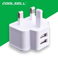2 Ports UK Plug USB Charger Wall Travel Charger Adapter for Apple iPhones Samsung  HTC LG Sony-Ericsson Nokia Toshiba(China (Mainland))