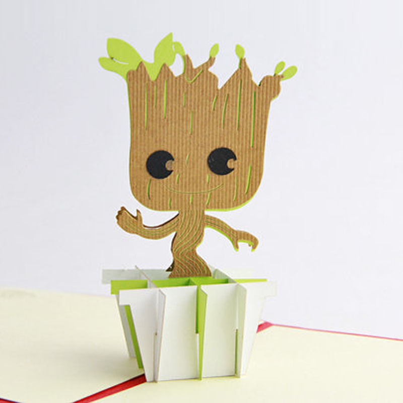 LOVE 3D Dancing Groot Pop Up Valentines Mother Father Children BFF Rose Xmas Greeting Card Holiday Rose Lover Cards(China (Mainland))