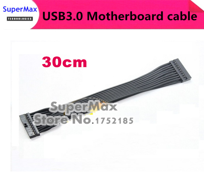 Free shipping 50PCS/LOT Motherboard 20Pin USB3.0 Female to Female transfer connector cable Black 30cm(China (Mainland))