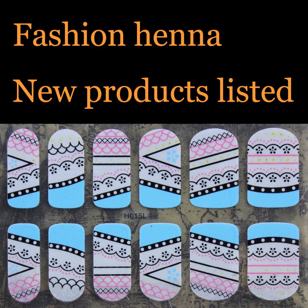 Fashion blue pink lace henna Nail Art Water Transfer Stickers Mixed Designs Watermark nails tips Decals Wraps Nail Art Tools(China (Mainland))