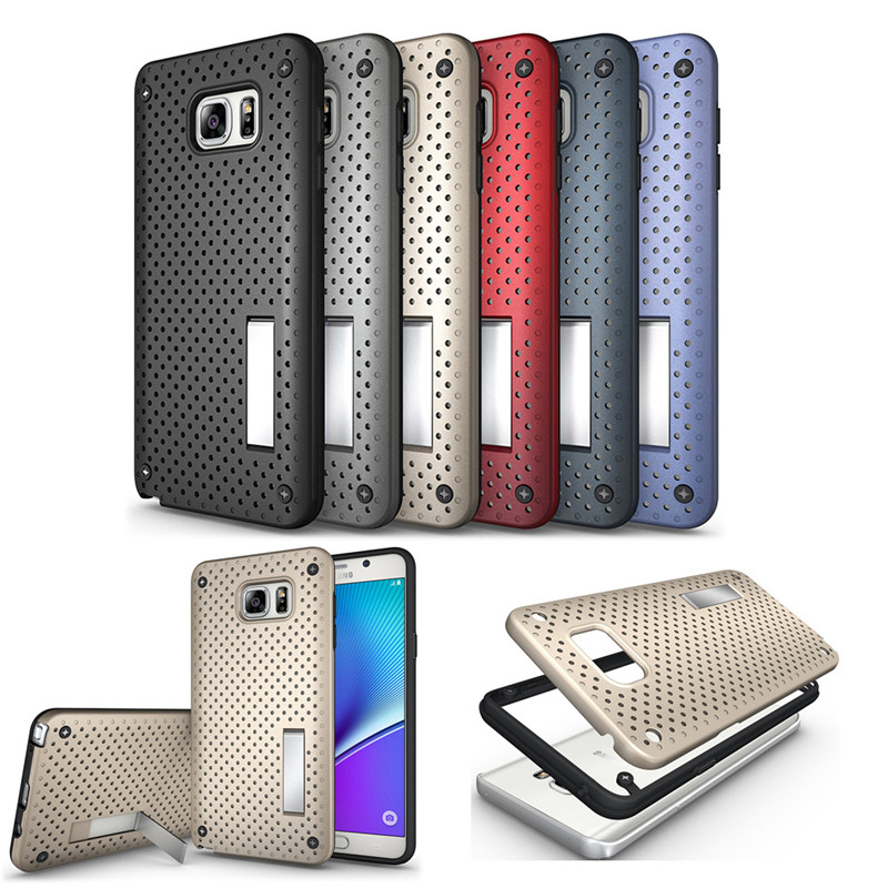 NEW Heat Radiation Function Slim Dual Armor Net Design Mesh PC+TPU Phone Case for for Samsung Galaxy Note 5 Back Cover Stand(China (Mainland))