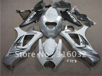ABS INJECTION Silver and White Bodywork  fairing  For Suzuki  GSXR1000 GSX-R1000  2007 2008 K7
