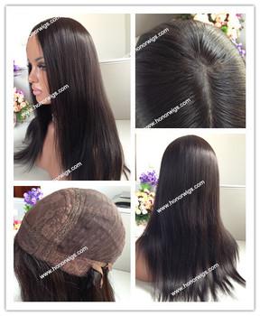 Со скидкой 20 дюйм(ов) шелковый прямо Бразильские волосы темно-коричневый оптовая бесклеевого парик фронта шнурка
