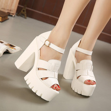 Fashion 2016 new summer wedges platform sandals women Black and White open toe high heels female shoes Free shipping(China (Mainland))