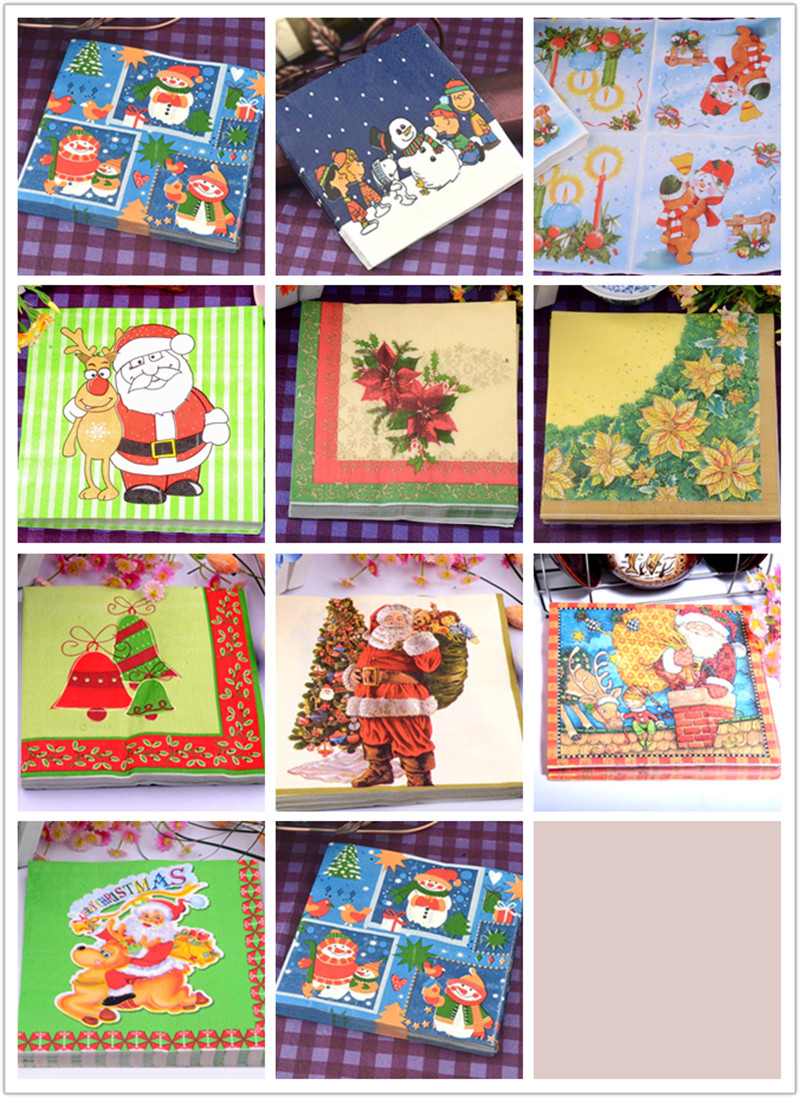 Fashion Food-grated Christmas paper napkins Santa clause snowman tissue paper Xmas party decoration home hotel shop table deco(China (Mainland))