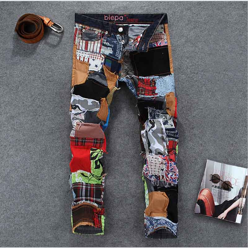 2015 new cool night club hip hop mens jeans patrch work colorful ripped jeans denim for men fancy long pants(China (Mainland))