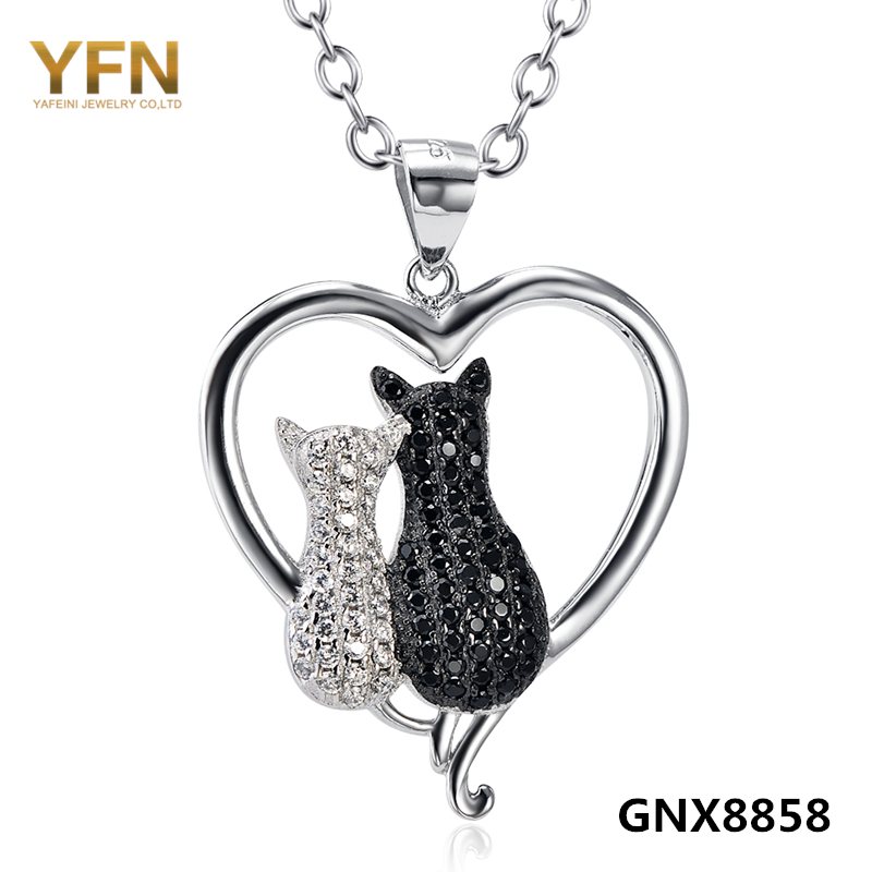 100% Real Pure 925 Sterling Silver Heart Necklace White Black Cubic Zirconia Two Cat Necklace Valentine's Gift For Women GNX8858(China (Mainland))