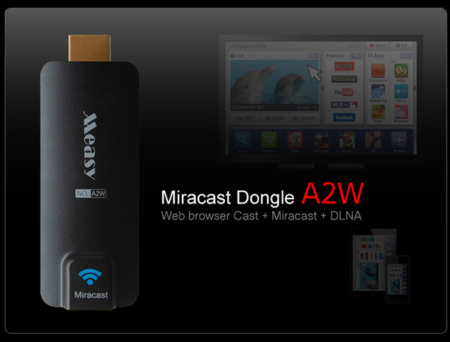 Measy A2W Miracast Wifi Display HDMI TV Stick Wireless Receiver DLNA Ezcast Airplay Streaming Media For Android IOS Windows(China (Mainland))