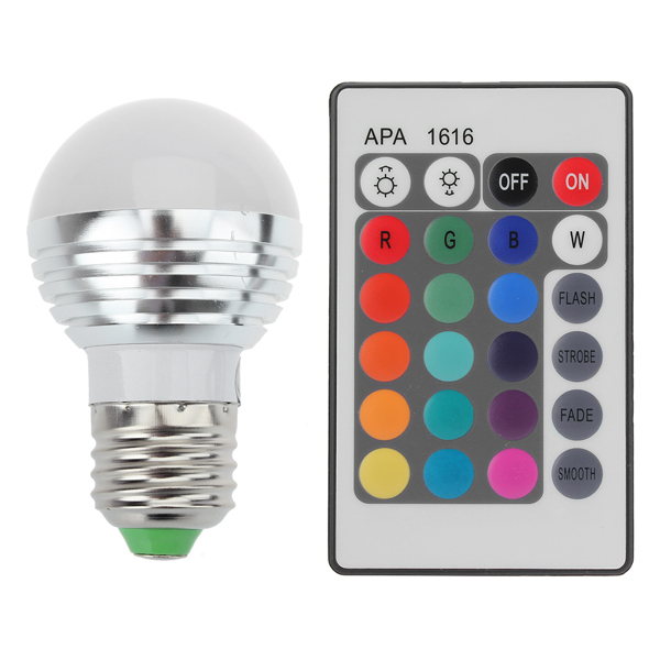 3W RGB E27 16 Colors LED Light Bulb Lamp Spotlight 85-265V + IR Remote Control free shipping(China (Mainland))