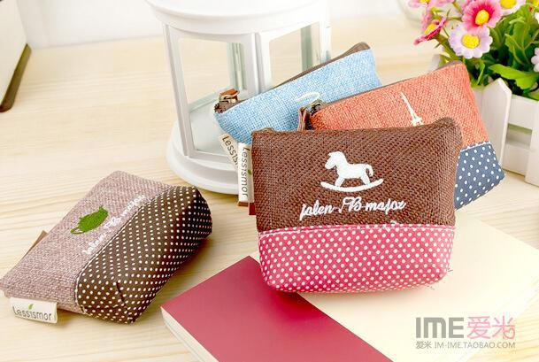 Корейский версии хлопок сумки, Деревенский стиль кошельки, Монета поднос для хранения, Mini портмоне - 5 видов стилей