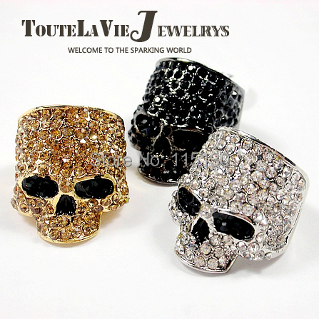 Brand Silver Skull Rings For Men Women Unisex Crystal Bijoux Gold Skull Ring Men Party Ring Fine Jewelry Wholesale(China (Mainland))