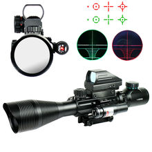 4-12X50EG Tactical Rifle Scope Holographic 4 Reticle Sight Red Laser Combo Airsoft Weapon Sight Hunting AirSoft Air Gun Sights(China (Mainland))