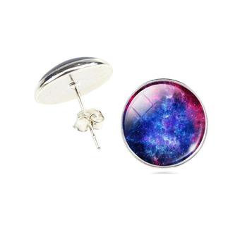 Universe Glass Cabochon Silver Stud Earrings