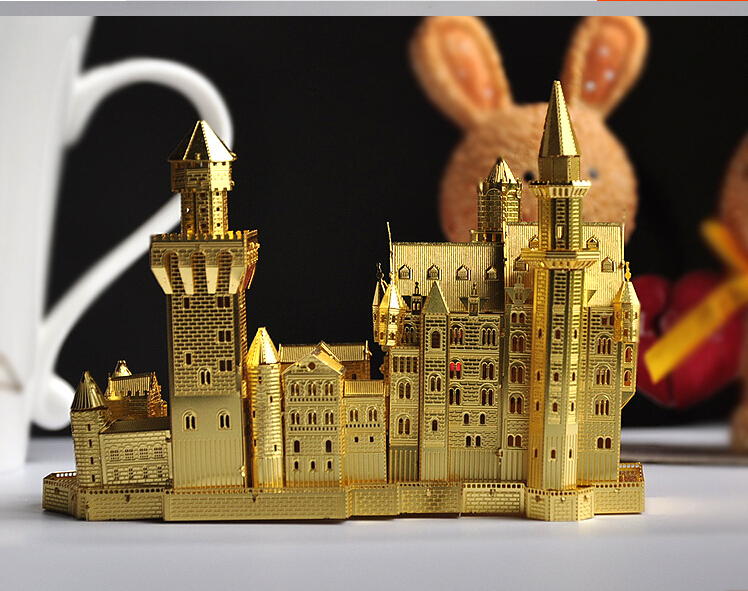 Free Shipping Fashion DIY 3D Neuschwanstein Castle Puzzle Metal 3DJigsaw Puzzle Model ,New Metal Puzzle Building Kids Toy Gift(China (Mainland))