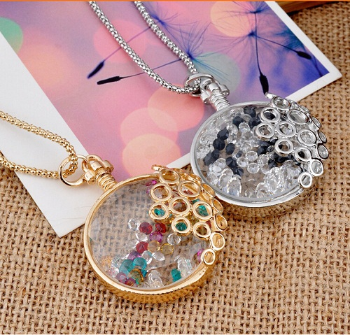 2015 Summer and autumn drift bottles colorful crystal magic perfume bottle necklace female Long design necklace(China (Mainland))