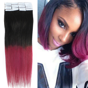 "Free Shipping 18"" Ombre two colors Tape skin weft Hair Extension Hight Quality weaves Hair #1B/bug,20pcs/set 40g"